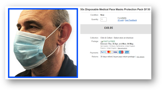 Price gouging on face masks sold on eBay (April 2020)