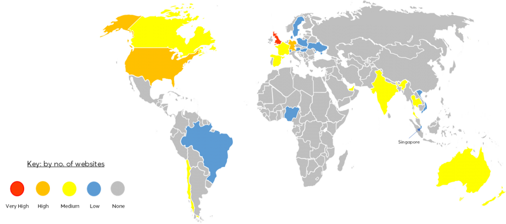 Global map of hijacked sites