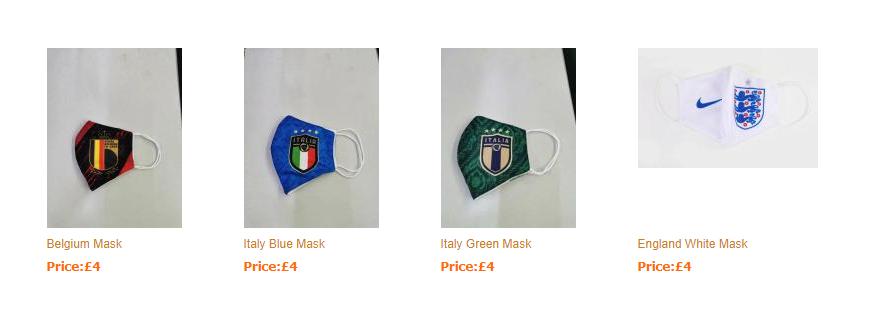 Screenshot of unlicensed face masks